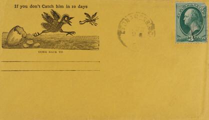 yellow gelb briefumschlag envelope vintage retro alt old papier paper gestempelt frankiert cancel...