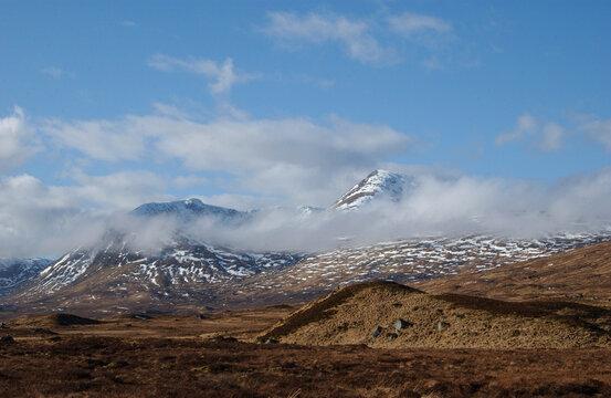 view over Rannoch moor in sunlit winter