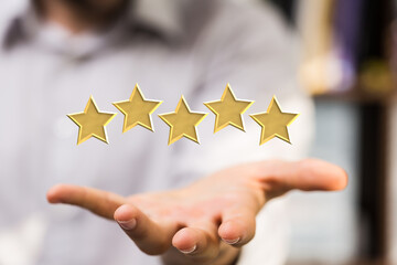 pushing flat button five rating stars