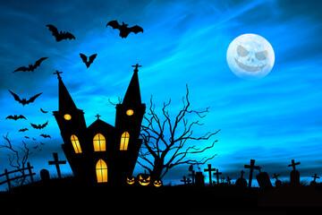 Nawiedzony dom przy cmentarzu z nietoperzami i księżycem.