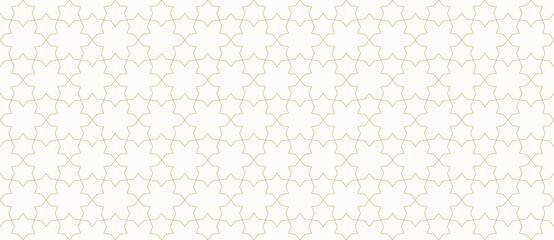 Vector abstract geometric seamless pattern. Golden lines texture, elegant lattice, mesh, weave, floral shapes, stars. Traditional oriental luxury background. Subtle gold ornament. Wide repeat design