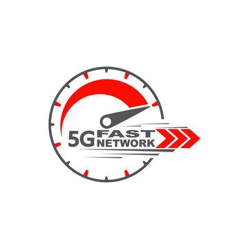 5G network wireless technology. Digital speedmeter concept with 5G icon. High speed internet.