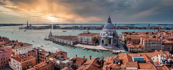 Aerial panoramic cityscape of Venice with Santa Maria della Salute church, Veneto, Italy.