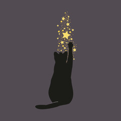 Samotny kot bawiący się błyszczącymi gwiazdkami. Sylwetka czarnego uroczego kotka, złote spadające gwiazdy i migoczący brokat.
