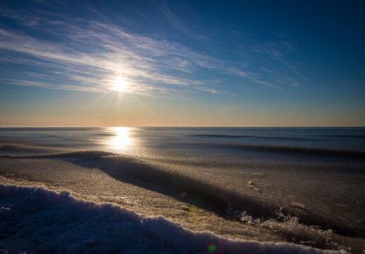 icy beach on the Atlantic ocean