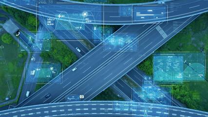 高速道路を走る自動車と情報技術イメージ ITS ICT