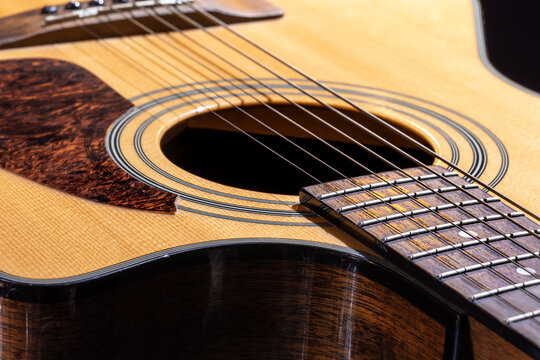 Close-up of a classical acoustic guitar in beautiful lighting.