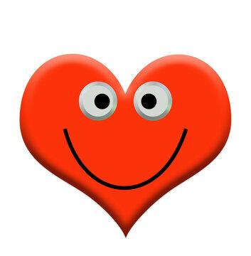 Herz mit lachendem Gesicht, 3D-Illustration