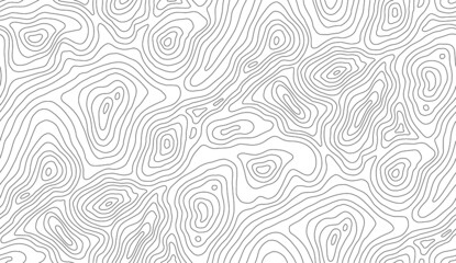 Seamless vector topographic map background. Line topography map seamless pattern. Mountain hiking trail over terrain. Contour background geographic grid.