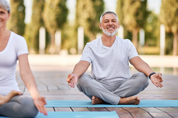 Happy senior husband and wife meditating with eyes closed in lotus position during yoga outdoors