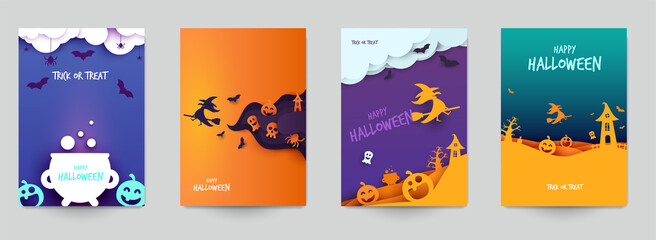 Happy halloween design background. Holiday collection cartoon composition in minimalistic modern layer style. Set templates for banner, poster, flyer, invitation card. Vector illustration.