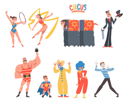 Circus Artist Character with Clown, Illusionist and Gymnast with Ribbon and Hula Hoop Performing on Stage or Arena Vector Set