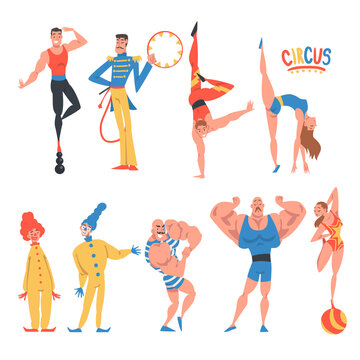 Circus Artist Character with Clown, Strongman and Acrobat Balancing on Ball Performing on Stage or Arena Vector Set