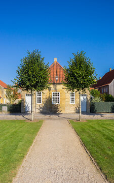 Old houses at the central square of Christiansfeld, Denmark