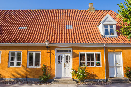 Front facade of a typical Danish house in Christiansfeld, Denmark