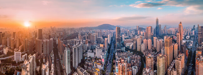 Aerial photography of Guangzhou city architecture skyline