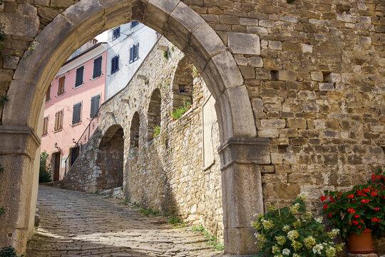 The old main gate of Motovun city in Istria, Croatia