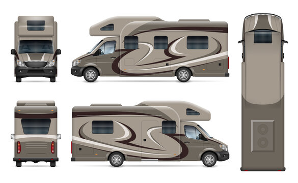 RV motorhome vector mockup on white for vehicle branding, corporate identity. View from side, front, back and top. All elements in the groups on separate layers for easy editing and recolor.