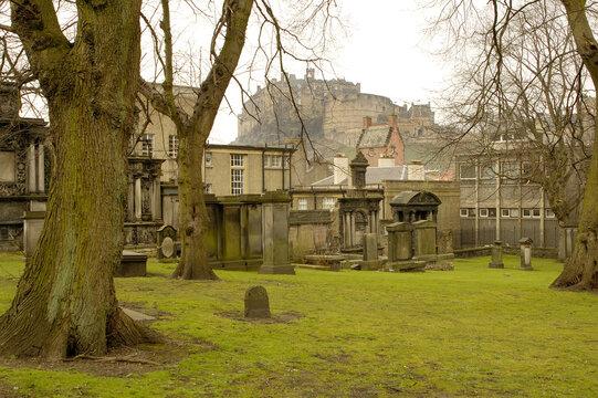 Greyfriars churchyard and Edinburgh castle in winter