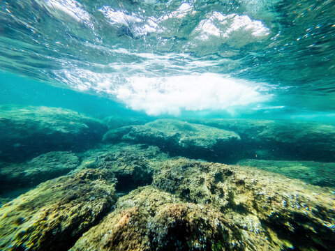Underwater view of a wave passing over a rocky seabed in Alghero