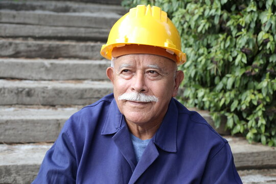 Senior construction worker with a mustache
