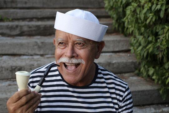 Classic senior sailor with a mustache