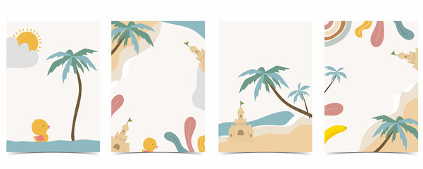 Obraz Collection of kid postcard set with sea,beach, sun.Editable vector illustration for website, invitation,postcard and sticker - fototapety do salonu