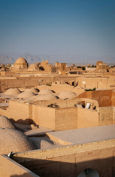 View of wind towers and architecture of yazd city old town in iran