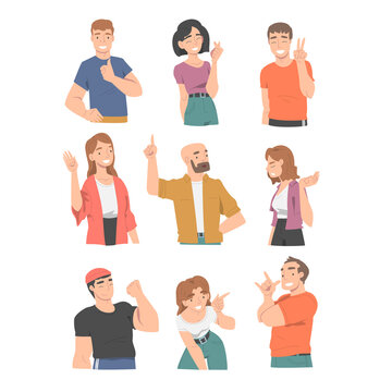 Smiling People Character Showing Different Hand Gesture Vector Illustration Set