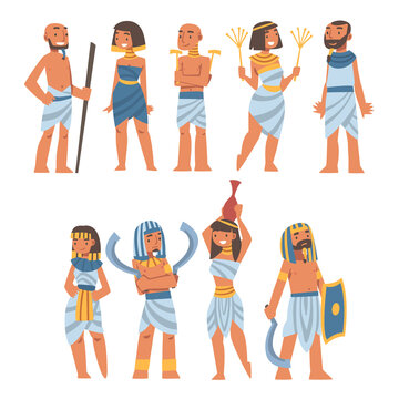 Egyptians as Ethnic People Characters from Egypt Wearing Authentic Garment Vector Set
