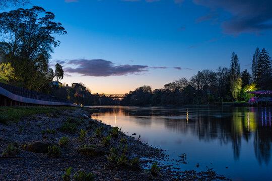 Dusk along the Waikato River in Hamilton, New Zealand