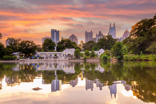 Piedmont Park in Downtown Atlanta city in USA