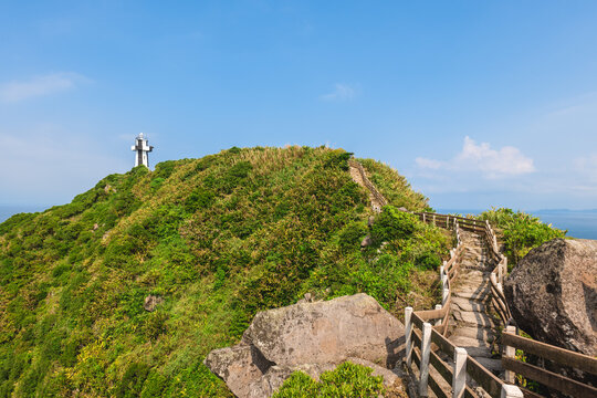 Keelung Island Lighthouse at the peak of keelung islet, taiwan