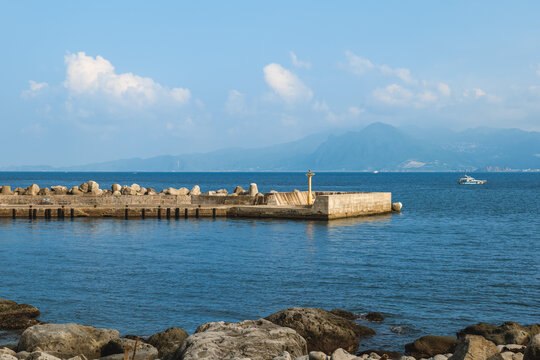 the pier located at keelung islet stands northeast off Keelung, taiwan