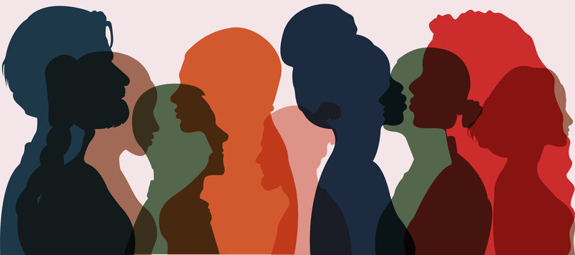 Silhouette group of multiethnic women and man who talk and share ideas and information. Communication and friendship women or girls of diverse cultures. Women social network community. Speak