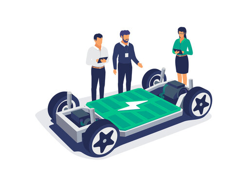 Electric car chassis battery platform skateboard module pack board. Automobile engineers working with tablet computer solving problem. Vehicle components battery pack, motor powertrain, controller.
