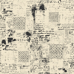 Obraz Abstract seamless pattern with fragments of typescript and Lorem Ipsum handwritten text, scribbles, blots and tables. Old paper vector background, wallpaper, wrapping paper or fabric in grunge style - fototapety do salonu