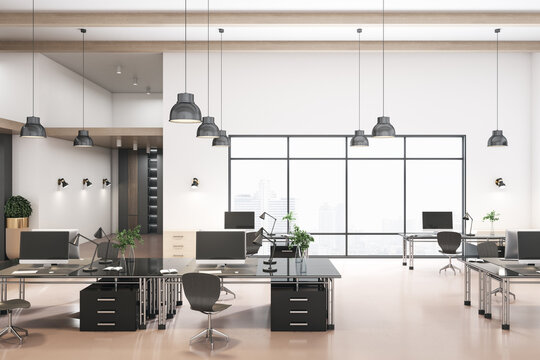 Contemporary coworking concrete office interior with city view and daylight. 3D Rendering.