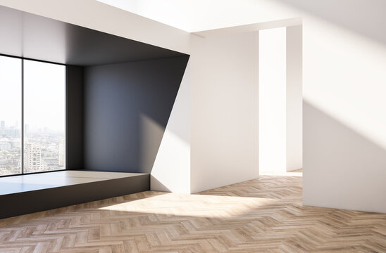 Modern bright wooden and white concrete empty interior with city view. 3D Rendering.