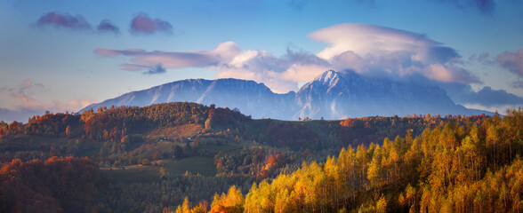 Piatra Craiului mountain at sunrise.