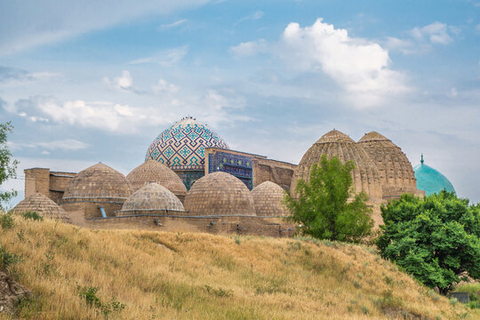 Panorama of the domes of the Shah-i-Zinda complex, Samarkand, Uzbekistan. Built in 14-15th centuries. Included in the UNESCO heritage