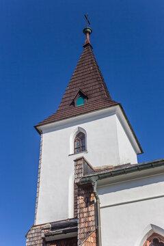 Tower of the historic church in Kvilda, Czech Republic