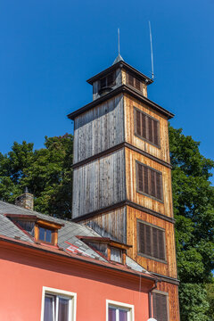 Wooden tower of the historic fire station in Volary, Czech Republic
