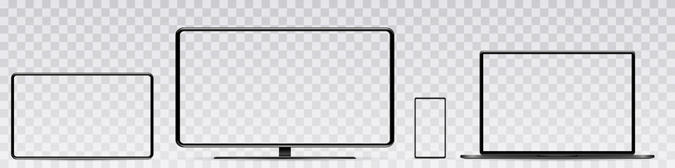 Device screen mockup. Smartphone, tablet, laptop and monoblock monitor, with blank screen for you design. PNG.