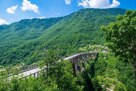 Concrete arch Durdevica Tara Bridge over Tara Canyon River in northern Montenegro.