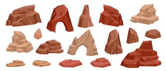 Obraz Desert rock cartoon vector set, stone canyon landscape illustration, red Mexico arch boulder dry cliff. Game nature environment design element, brown drought cracked mountain. Western land desert rock - fototapety do salonu