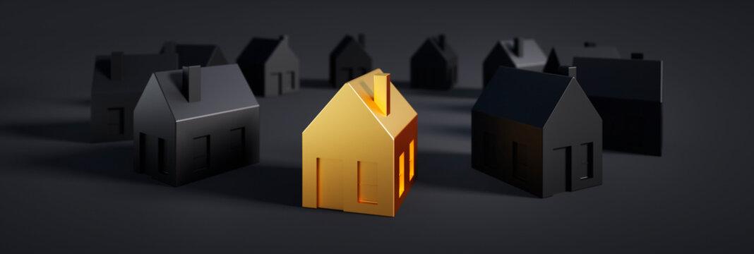 Golden toy house in group of black houses - 3D illustration