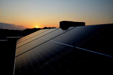 sunset on solar panels