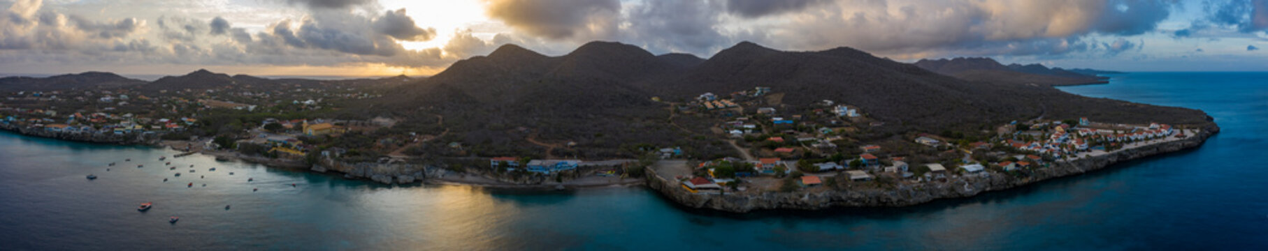 Aerial view above scenery of Curacao, the Caribbean with ocean and coast