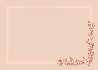 Szablon ramki z listkami na brzoskwiniowym tle. Tło do projektowania wizytówki, kartek urodzinowych, życzeń, gratulacji, wzór zaproszenia ślubnego, tło do social media lub na blog.